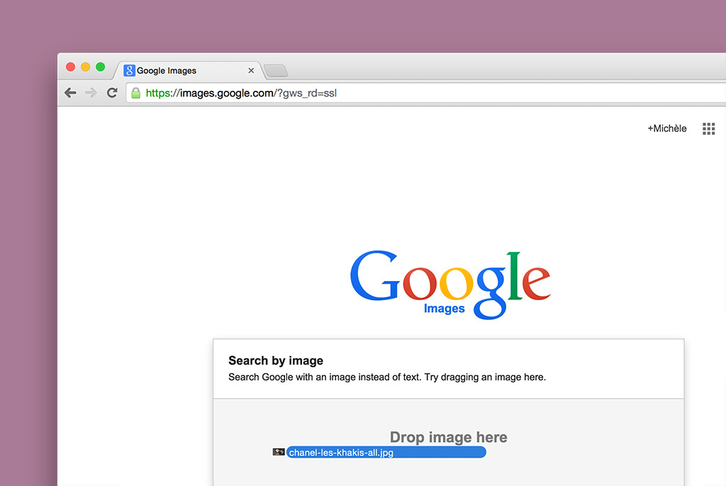 Drag a photo from your hard drive directly into the search field