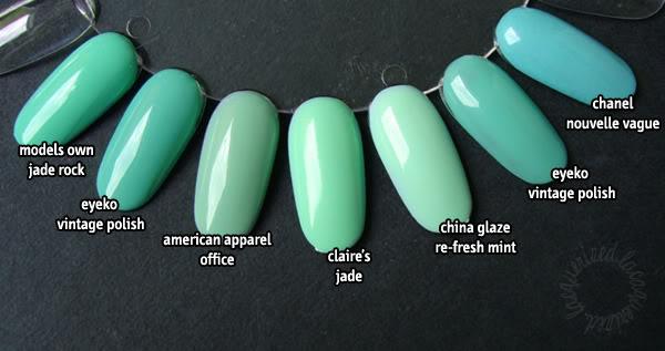 Mint green comparison